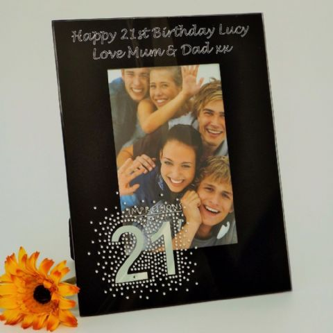 Personalised Black Glass Photo Frame Glitter Mirror 21st Birthday Gift